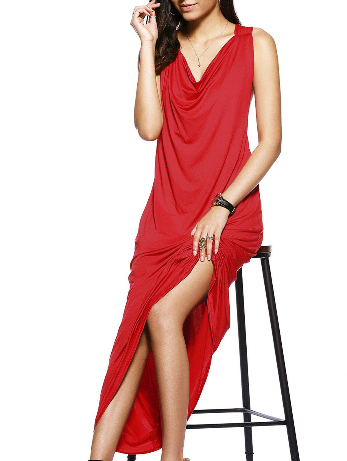 Trendy Side Cut Out Sleeveless Pure Color Maxi Dress For Women - RED S