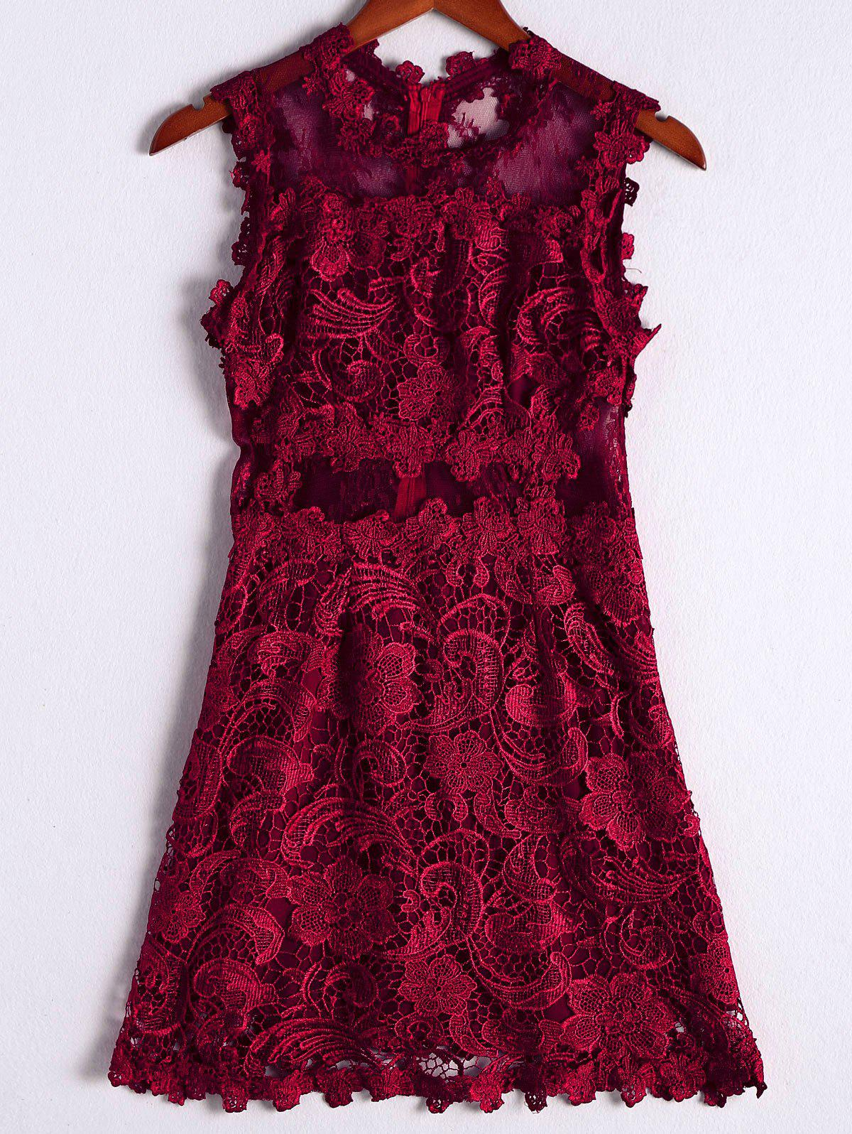 Stylish Women's Solid Color Scoop Neck Lace Sleeveless Knee-Length Dress - DEEP RED L