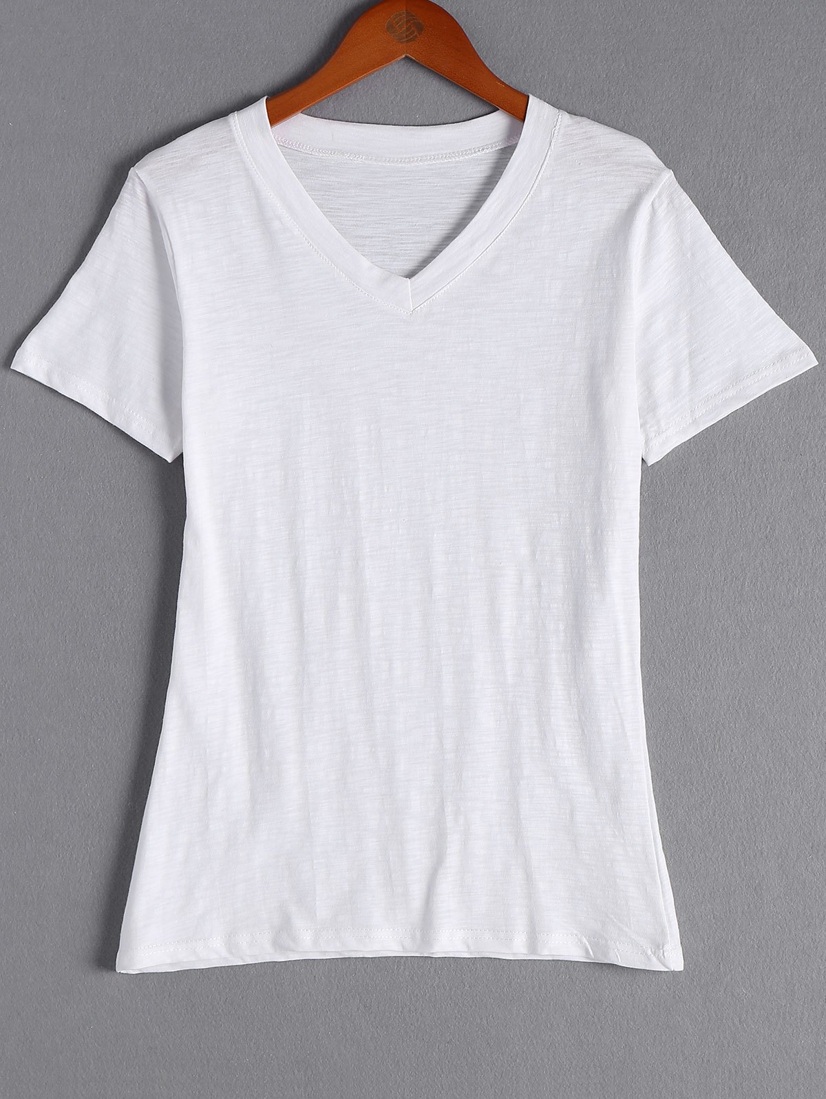Simple Design Women's Solid Color V-Neck Short Sleeves T-Shirt - WHITE ONE SIZE(FIT SIZE XS TO M)