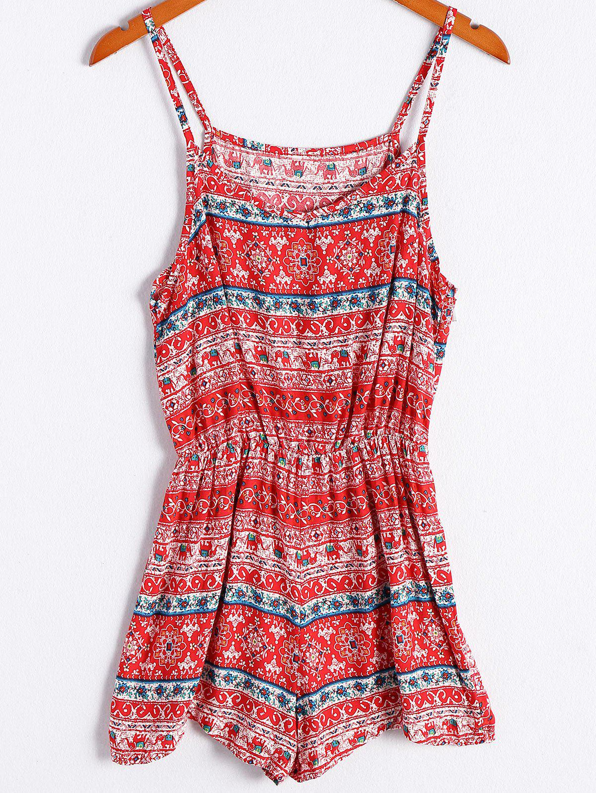 Ethnic Style Women's Spaghetti Strap Tribal Print Romper - RED XL
