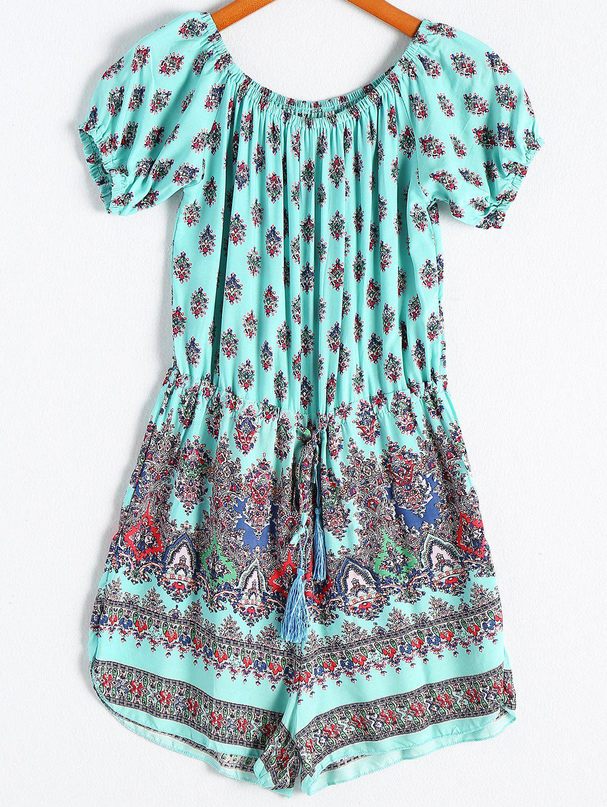 Ethnic Style Women's Off-The-Shoulder Print Short Sleeves Romper - CYAN XL