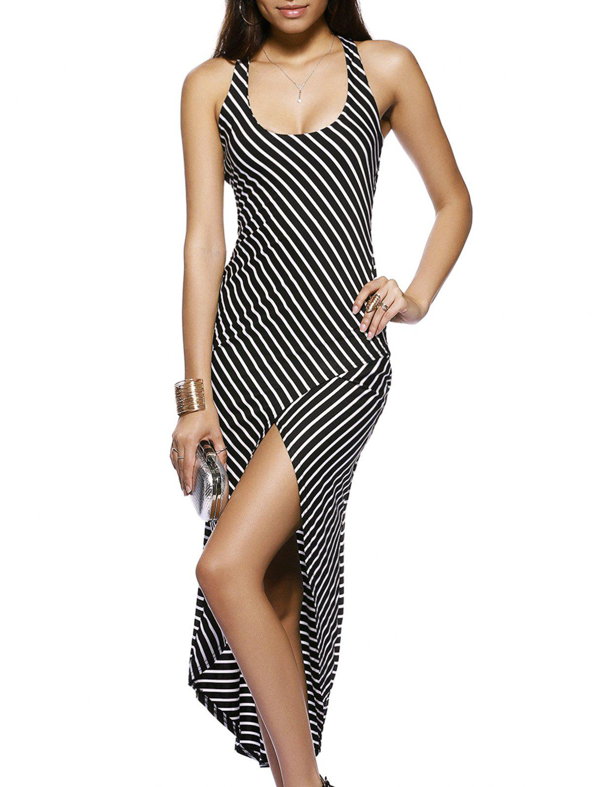 Chic U Neck Sleeveless High-Low Striped Cross Back Dress For Women