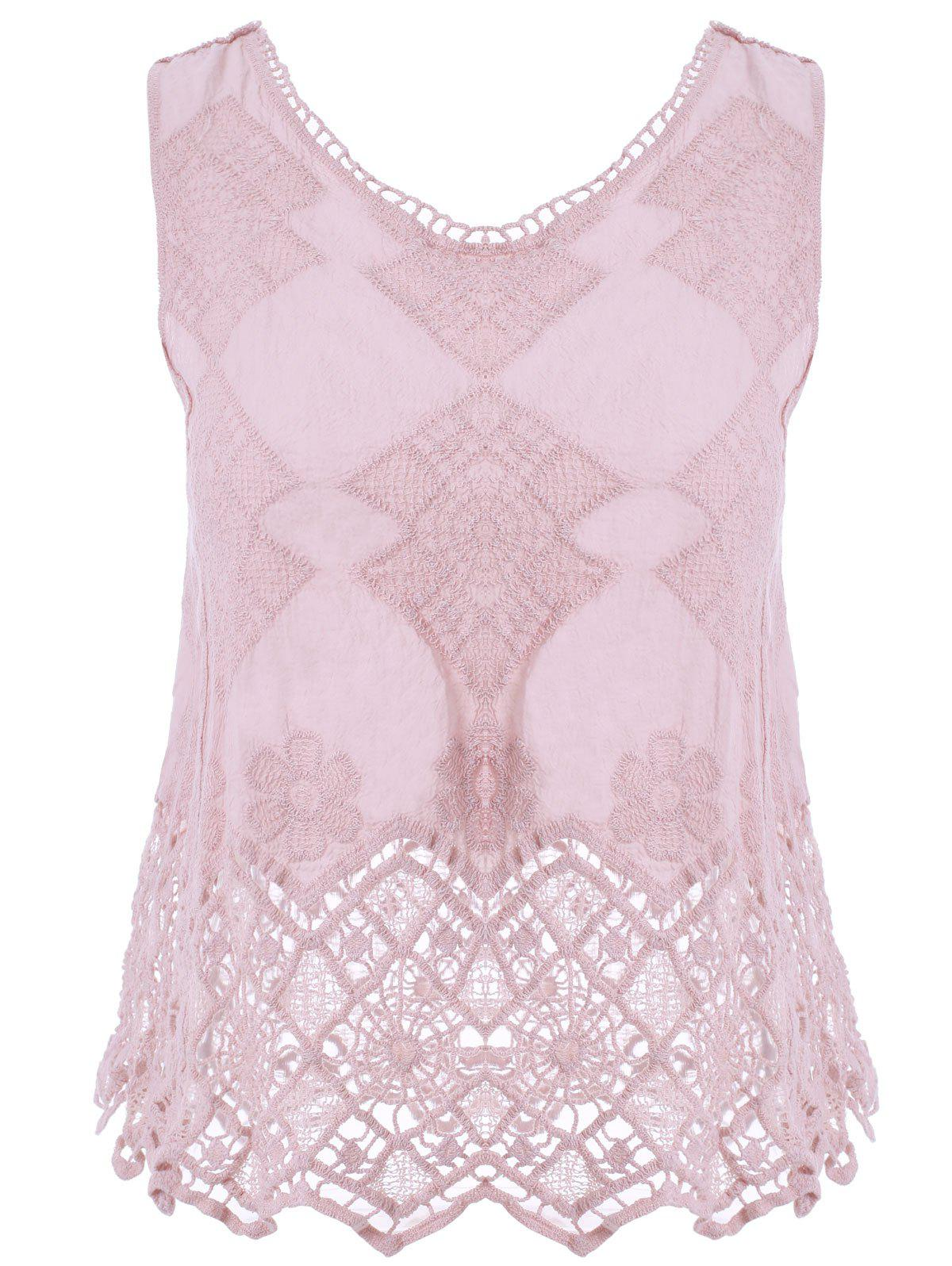 Guipure Laciness Hollow Out Lady's Top - PINK ONE SIZE(FIT SIZE XS TO M)