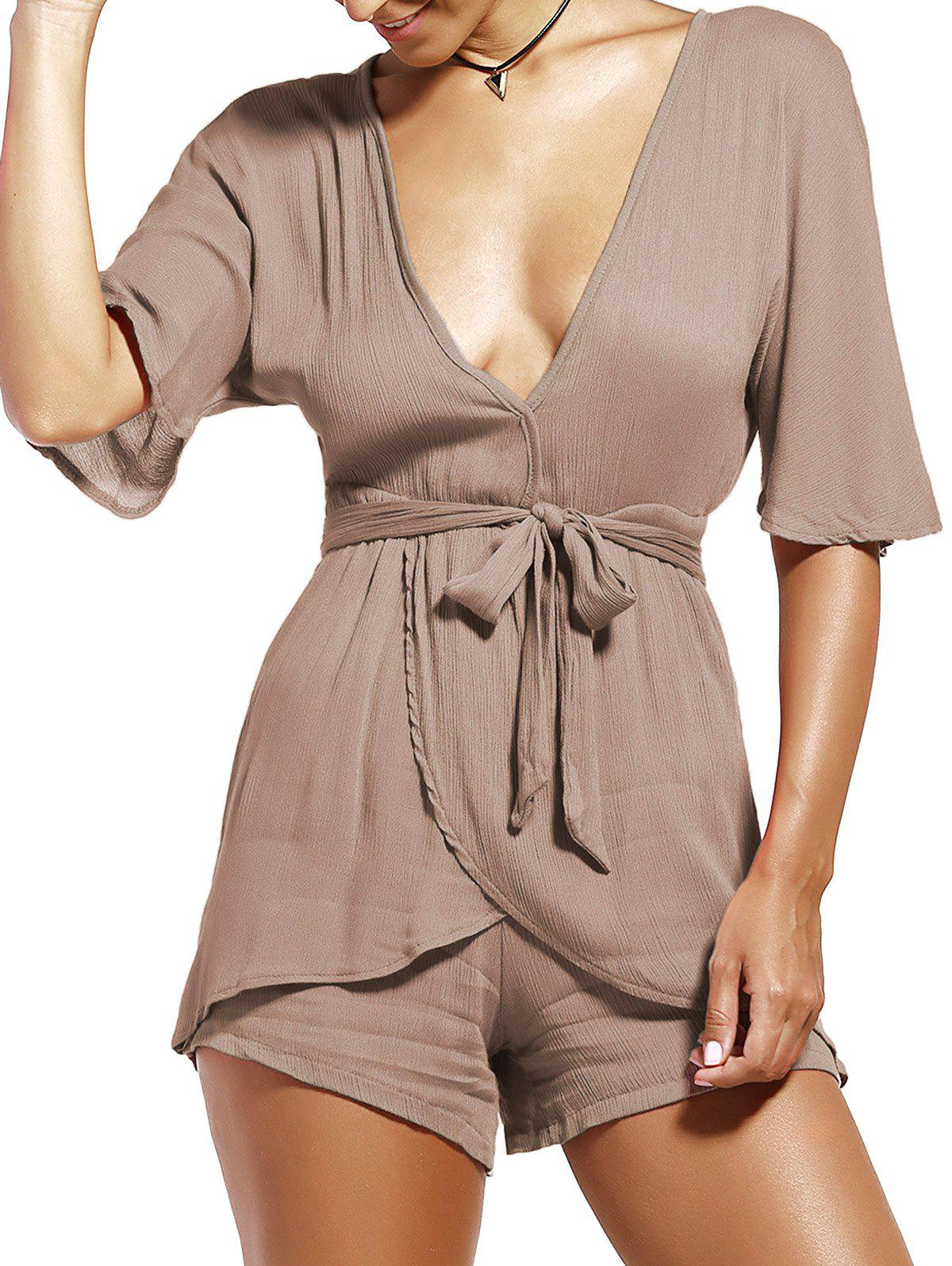Belt Plunging Neckline Wrap Romper - LIGHT BROWN XL