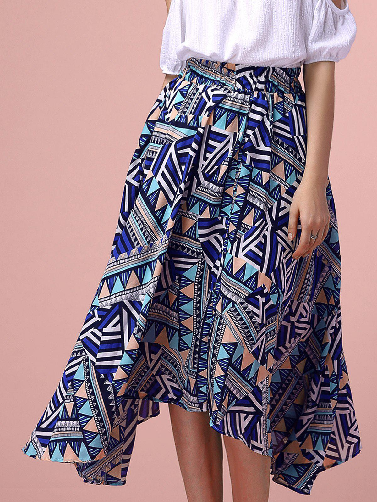 Trendy Geometric Pattern High Low Midi Skirt - COLORMIX ONE SIZE(FIT SIZE XS TO M)