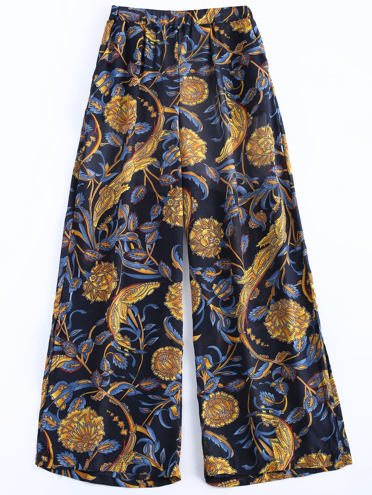 Casual Women's Elastic Waist Print Chiffon Palazzo Pants - EARTHY ONE SIZE(FIT SIZE XS TO M)