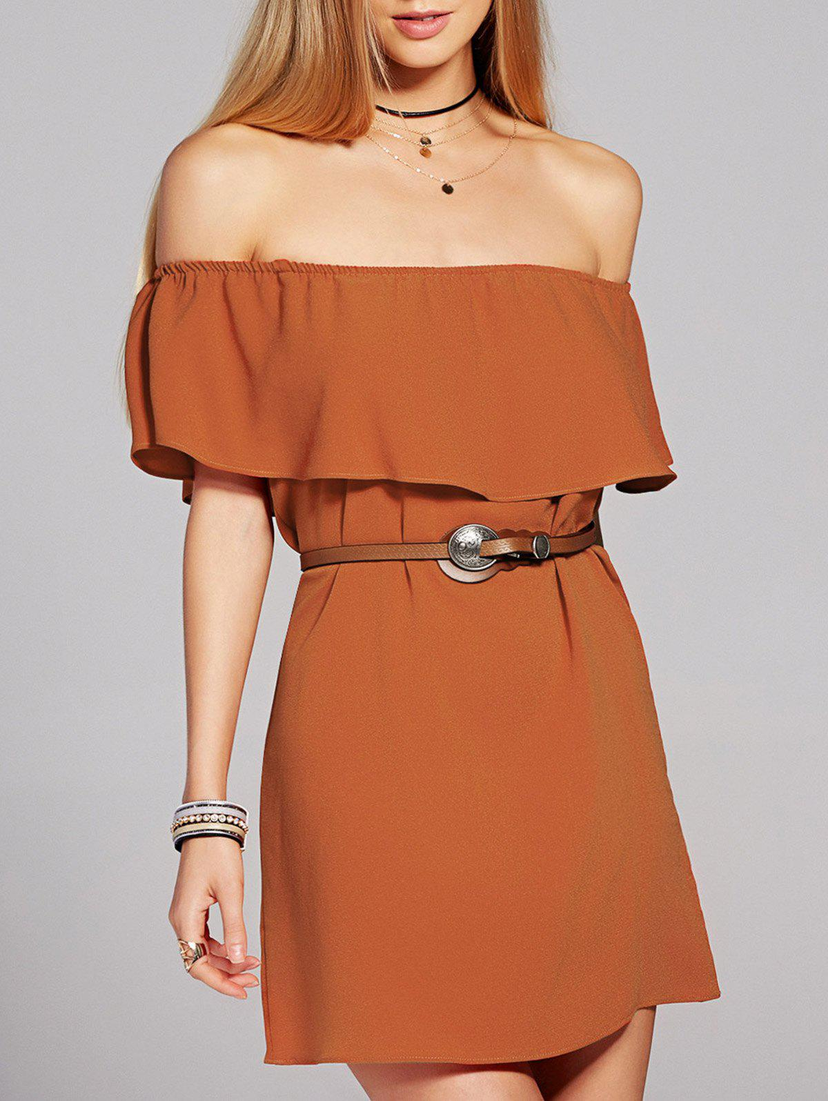 Flounce Chiffon Off The Shoulder Dress - SWEET ORANGE M