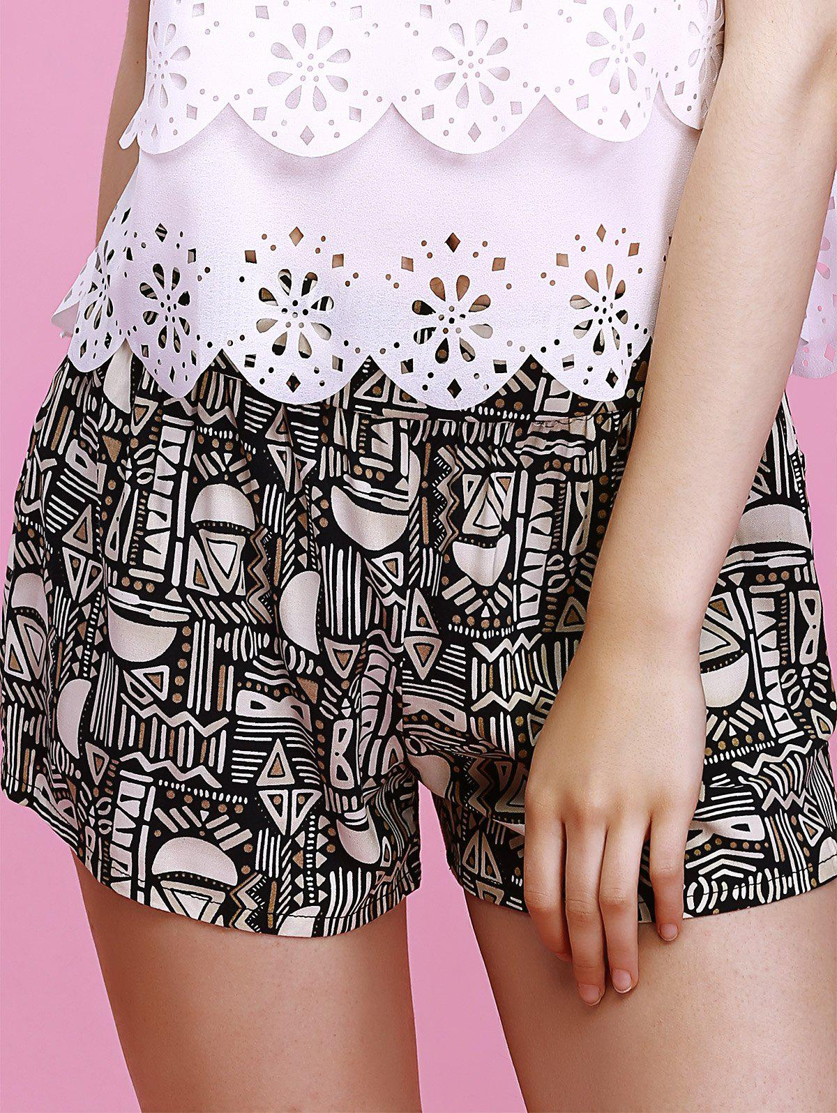 Charming Geometric Print Elastic Waist Slimming Women's Shorts - BLACK S