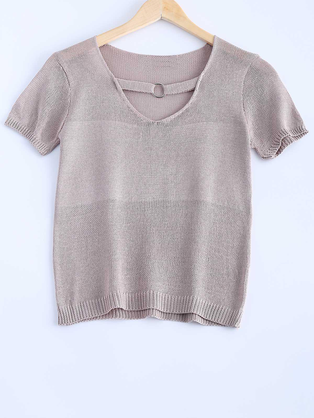 Stylish Women's Solid Color V-Neck Metallic Short Sleeves Knitwear - SHALLOW PINK ONE SIZE(FIT SIZE XS TO M)