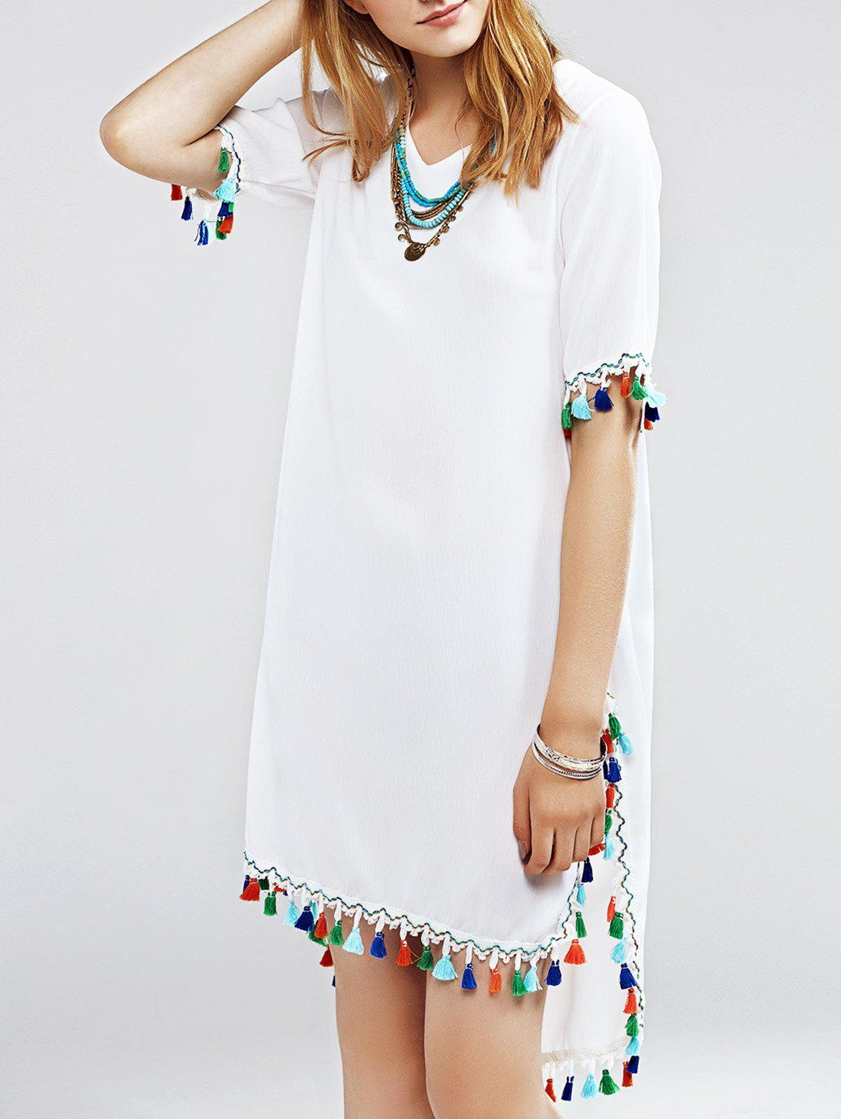 Refreshing Women's Multicolor Fringed Furcal Dress - WHITE ONE SIZE(FIT SIZE XS TO M)