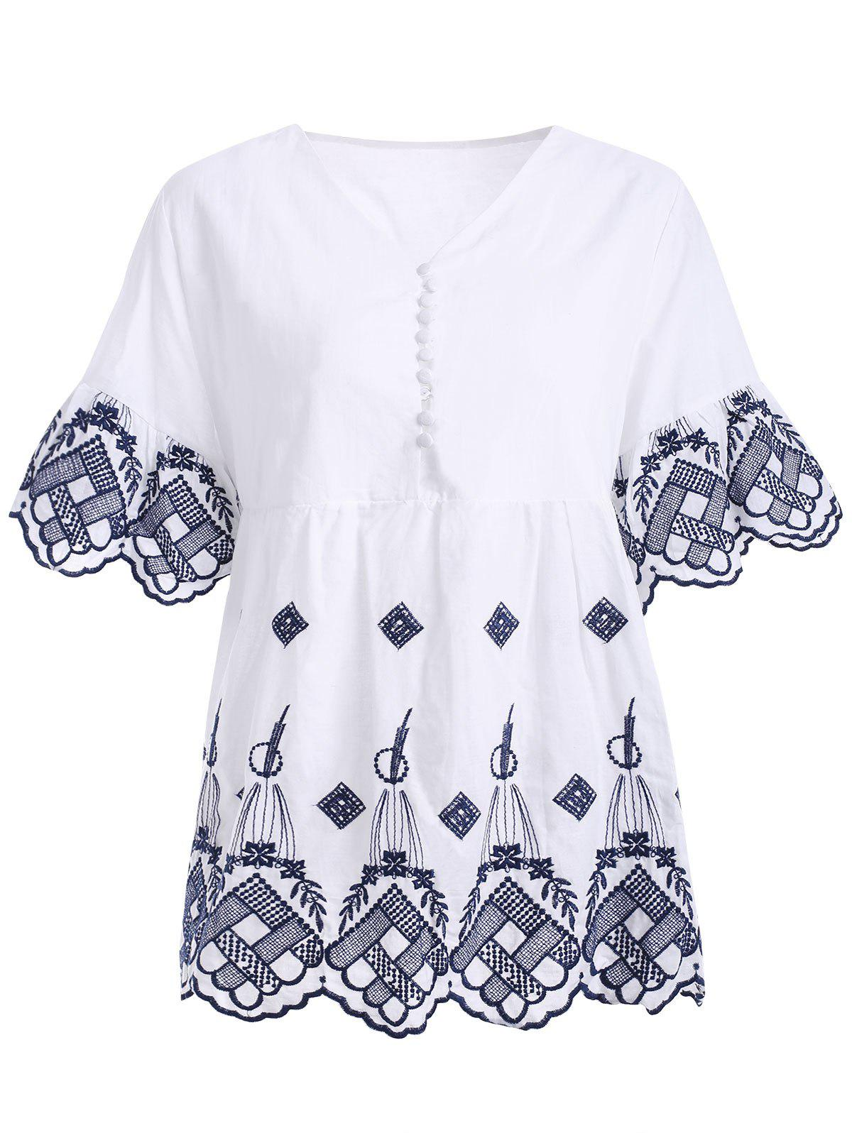 Button Up Embroidered Scalloped Ethnic Style Women's Blouse