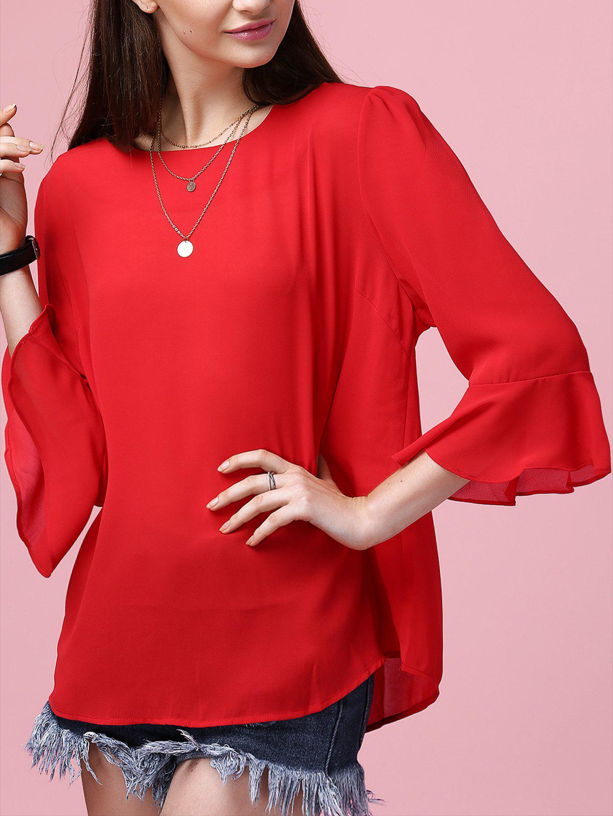 Women's Flare Sleeve Round Neck Chiffon Blouse - RED 4XL