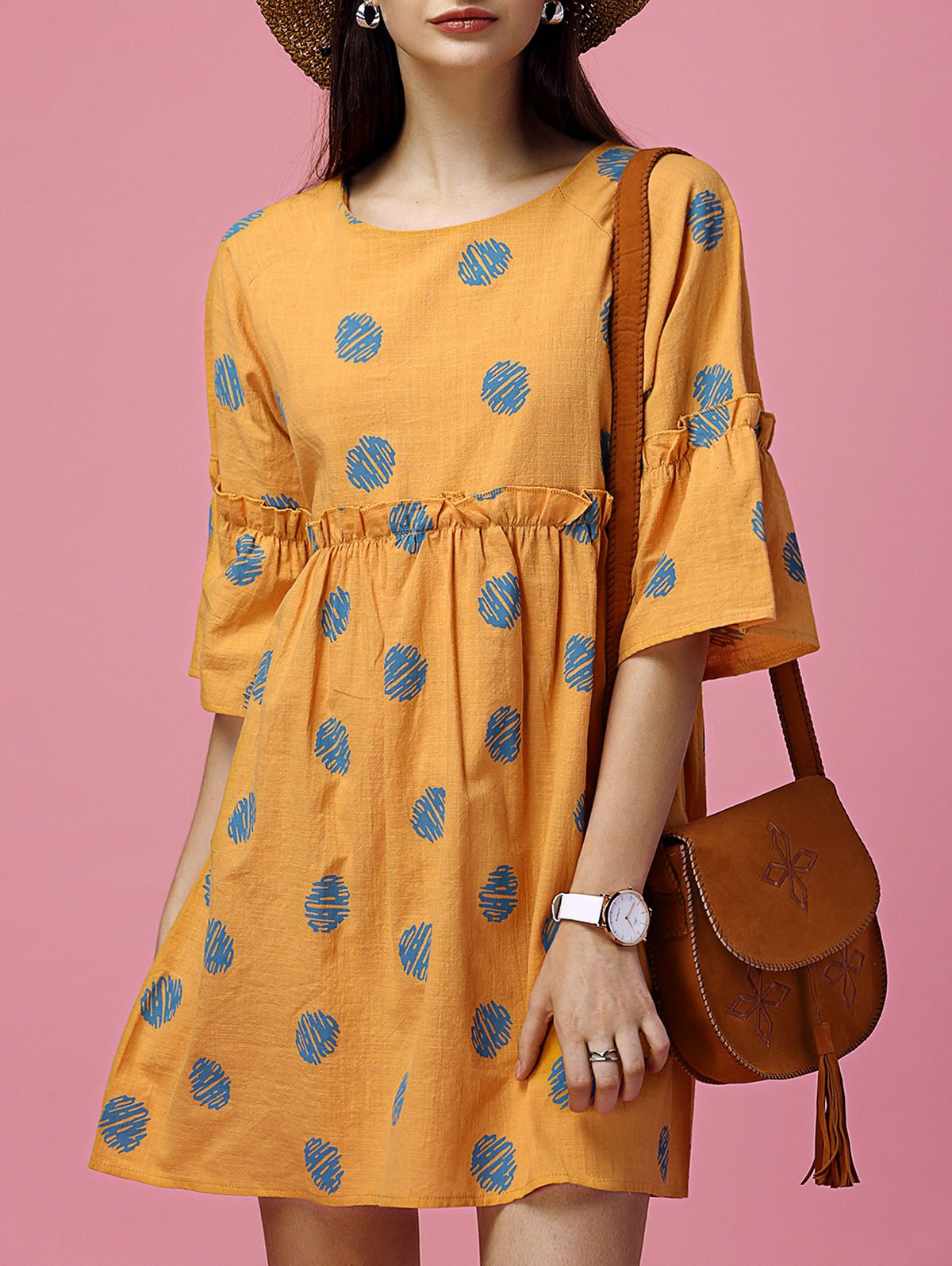 Polka Dot Ruffled Smock DressWomen<br><br><br>Size: M<br>Color: ORANGE