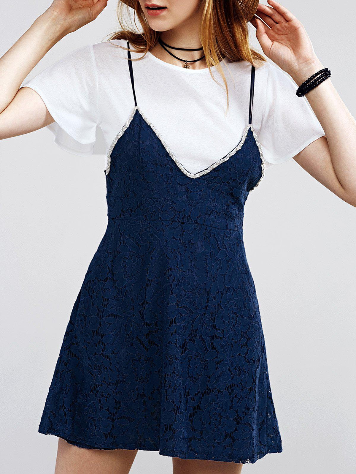 Refreshing Women's Flare Sleeve Tee + Laced Suspender Dress - CADETBLUE / WHITE ONE SIZE(FIT SIZE XS TO M)