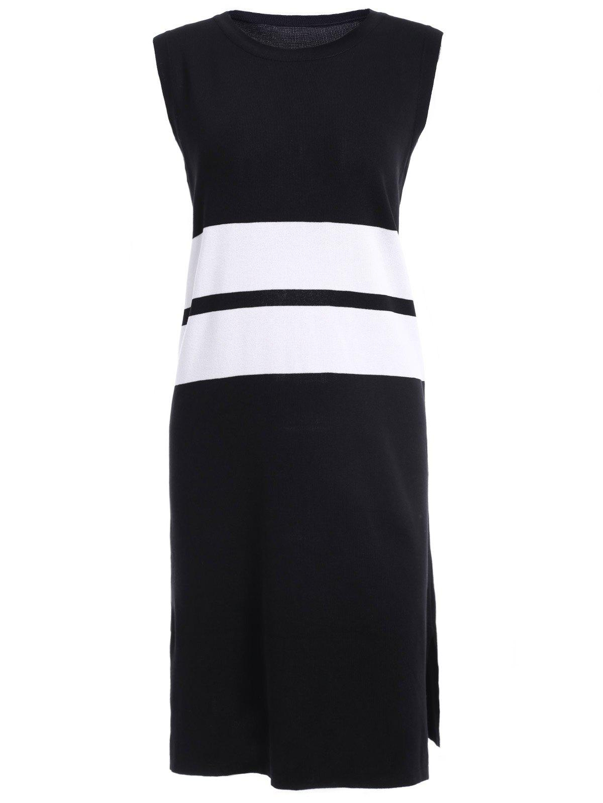 Casual Women's Scoop Neck Colorful Hoodie Slit Sleeveless Mid-Calf Dress - WHITE/BLACK ONE SIZE(FIT SIZE XS TO M)