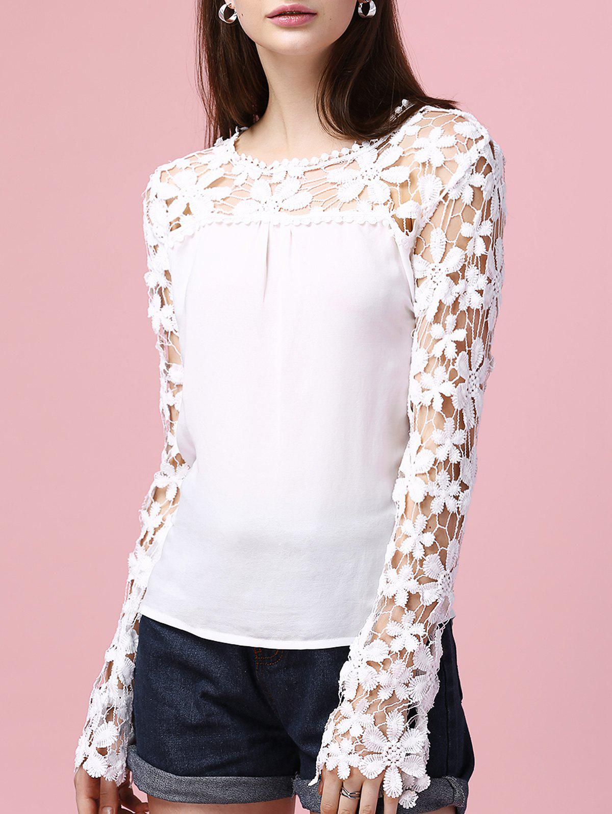 Lace Splicing Hollow Out Long Sleeve Blouse - WHITE 3XL