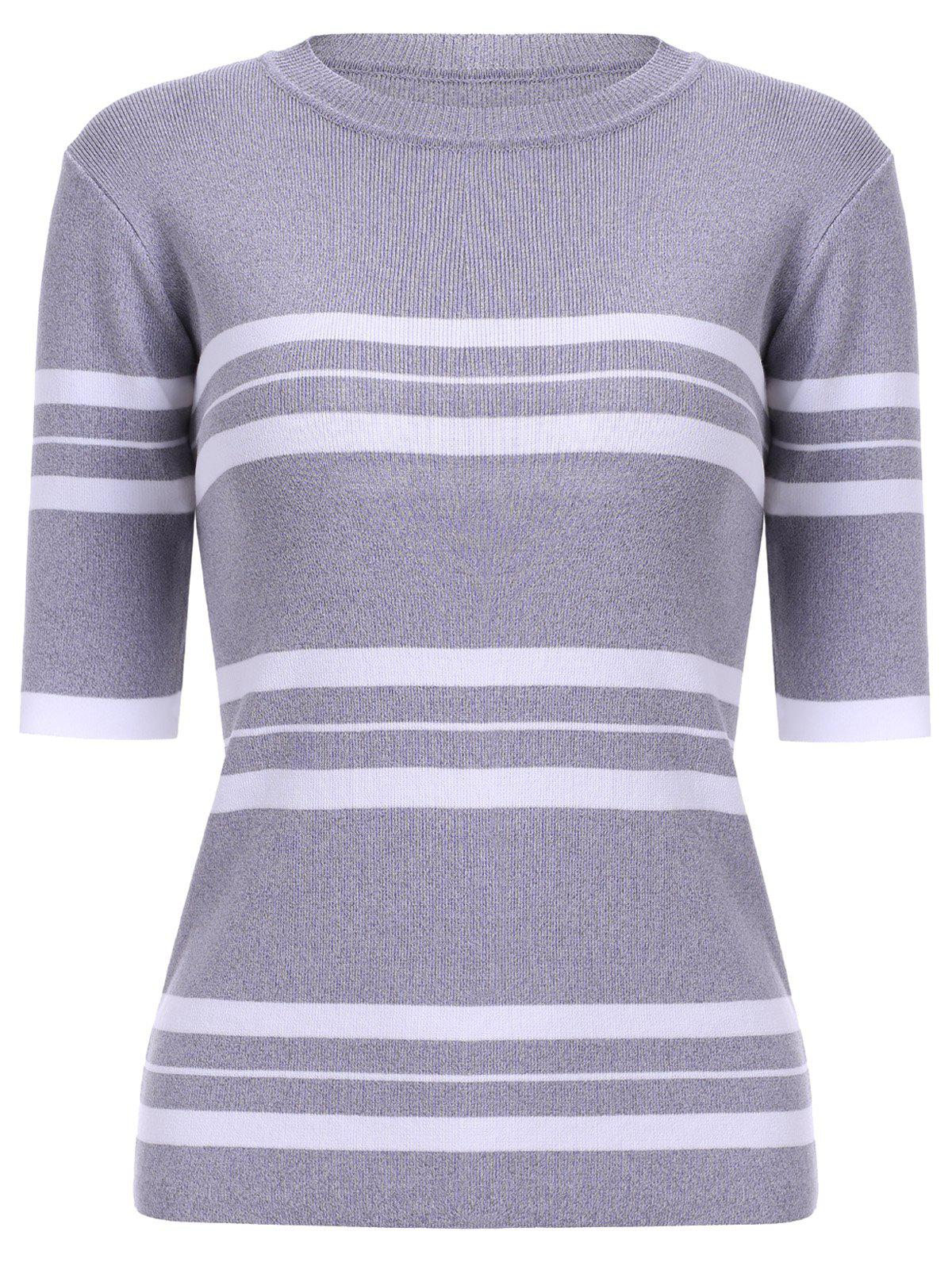Casual Women's Jewel Neck Striped Stitching Color 3/4 Sleeve Knitwear - LIGHT GRAY ONE SIZE(FIT SIZE XS TO M)