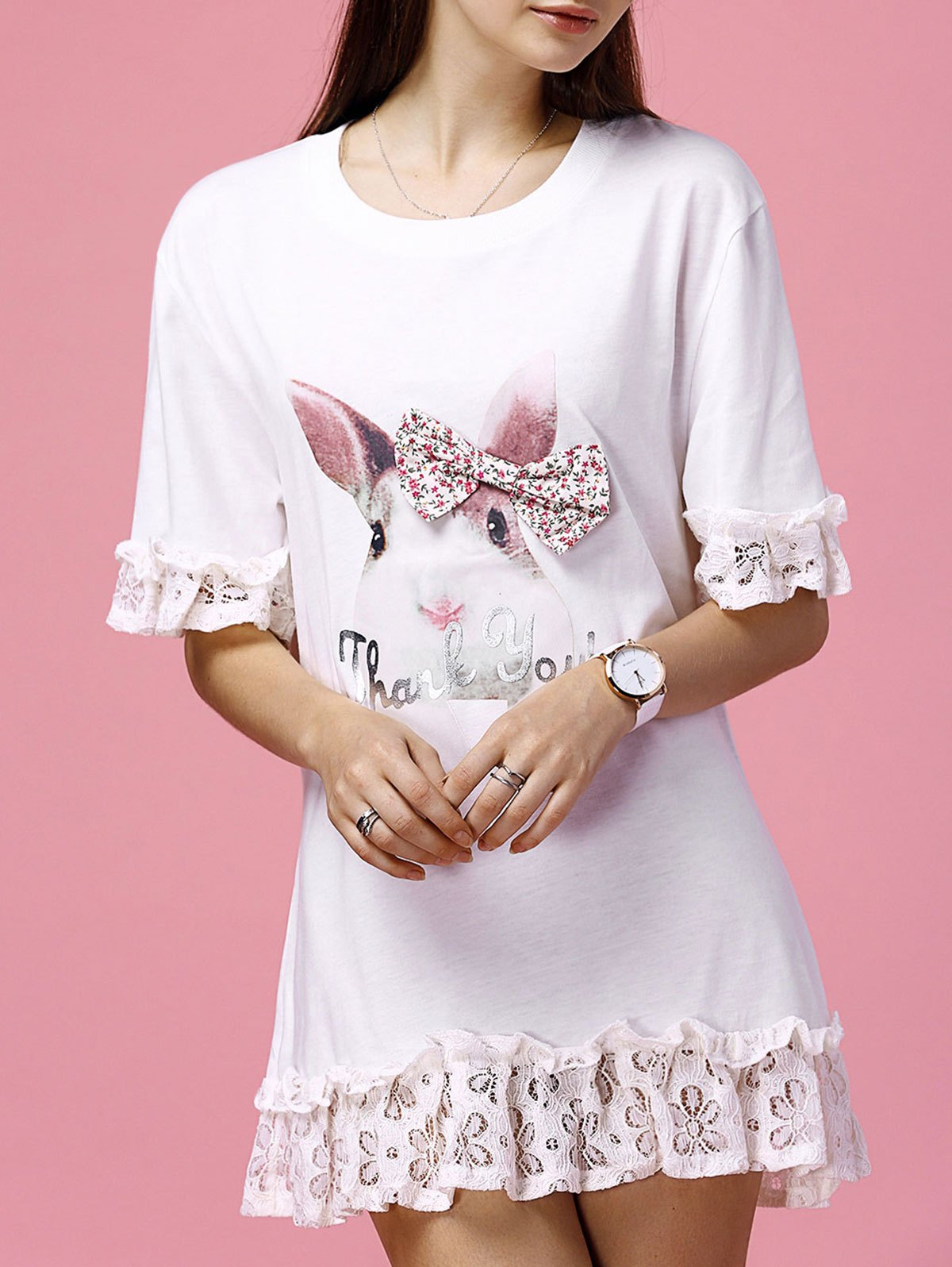 Sweet Women's Bunny Pattern Bowknot Lace Patchwork Ruffled Dress - PINK XL
