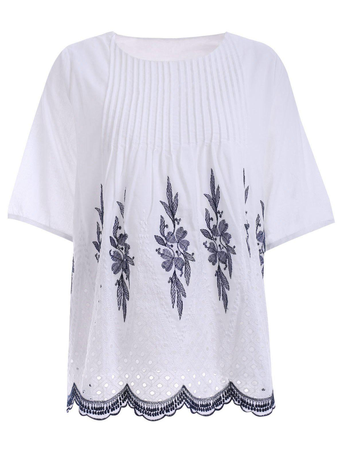 Embroidered Ribbed Blouse - WHITE ONE SIZE(FIT SIZE XS TO M)