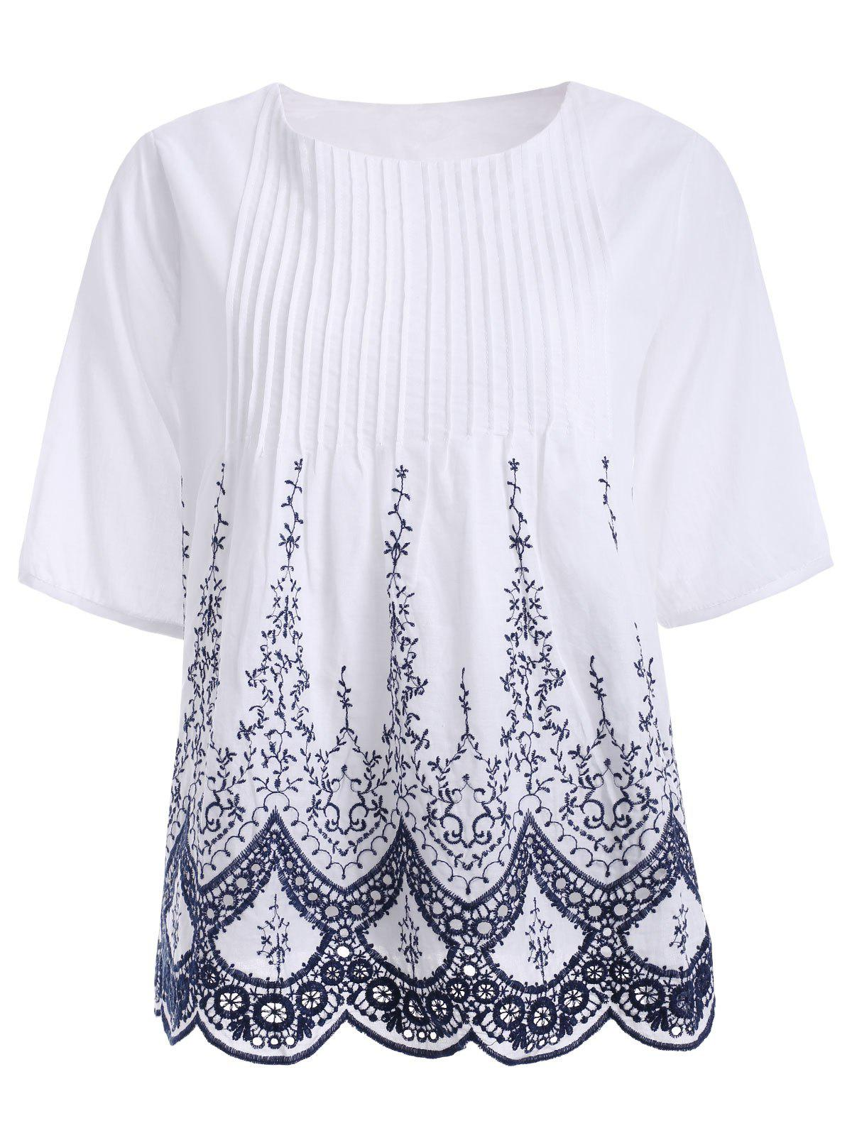 Ladylike Floral Embroidered Ribbed Crochet Blouse For Women - WHITE ONE SIZE(FIT SIZE XS TO M)