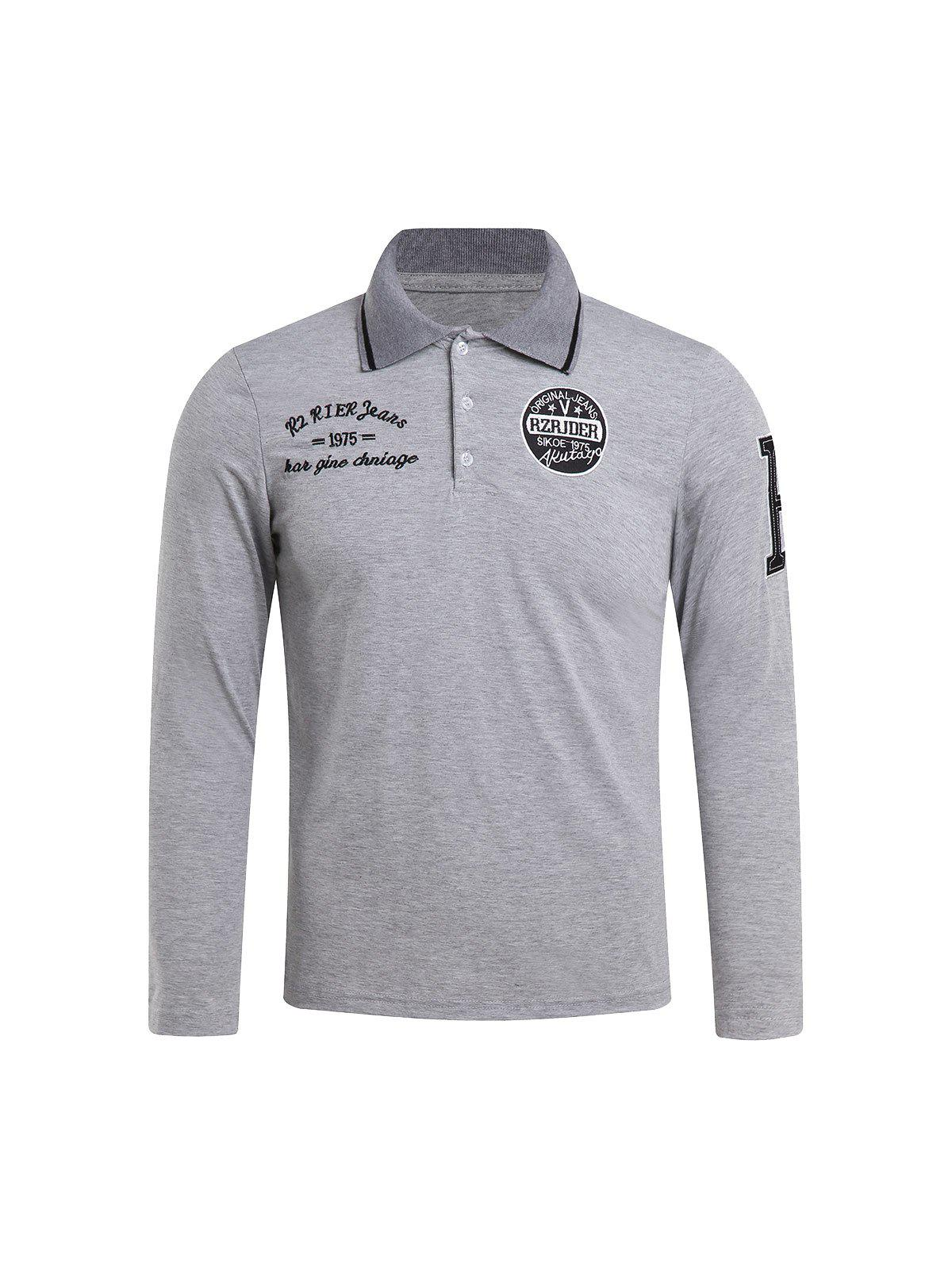 Slimming Turndown Collar Stylish Letter Embroidered Long Sleeve Polyester Men's Polo T-Shirt - LIGHT GRAY M