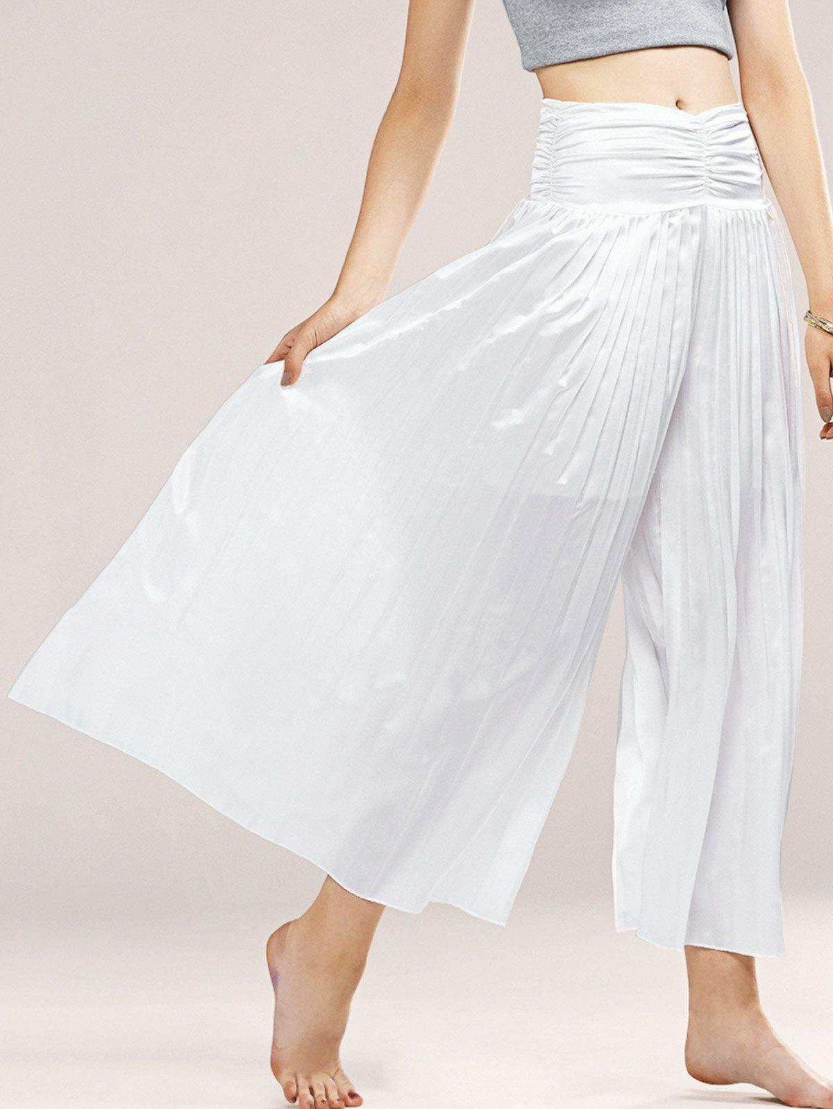 Refreshing Women's Elastic Waist Palazzo Pants - WHITE ONE SIZE(FIT SIZE XS TO M)