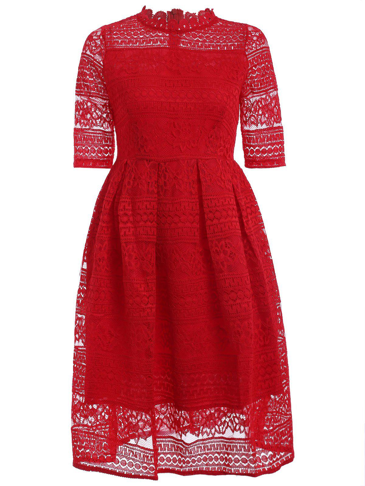 Stunning Stand Collar High Waist Lace Lady's Dress - RED M