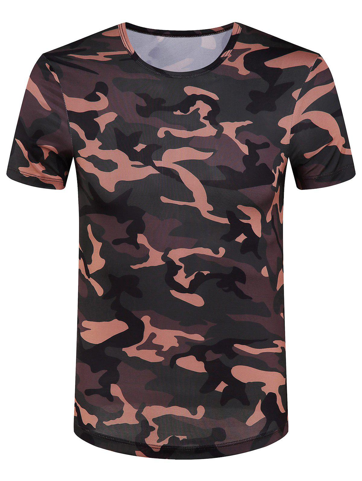 Men's Slimming Camouflage Round Collar T-Shirt - ARMY GREEN 2XL