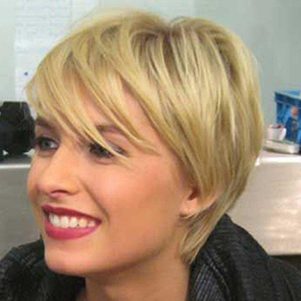 Faddish Short Straight Synthetic Side Bang Capless Blonde Mixed Wig For Women