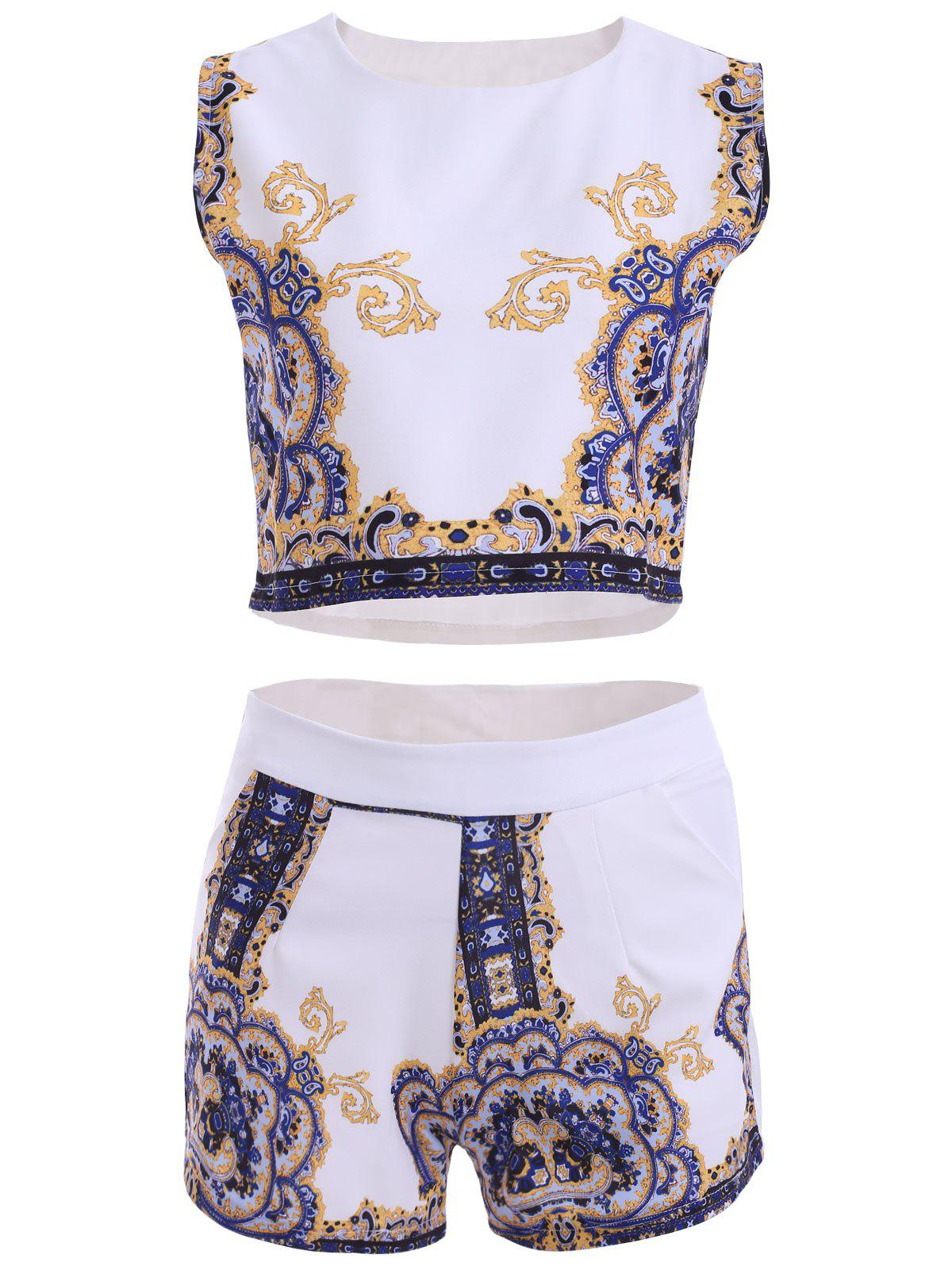 Casual Tribal Print Top and Straight Shorts Women's Twinset - WHITE M