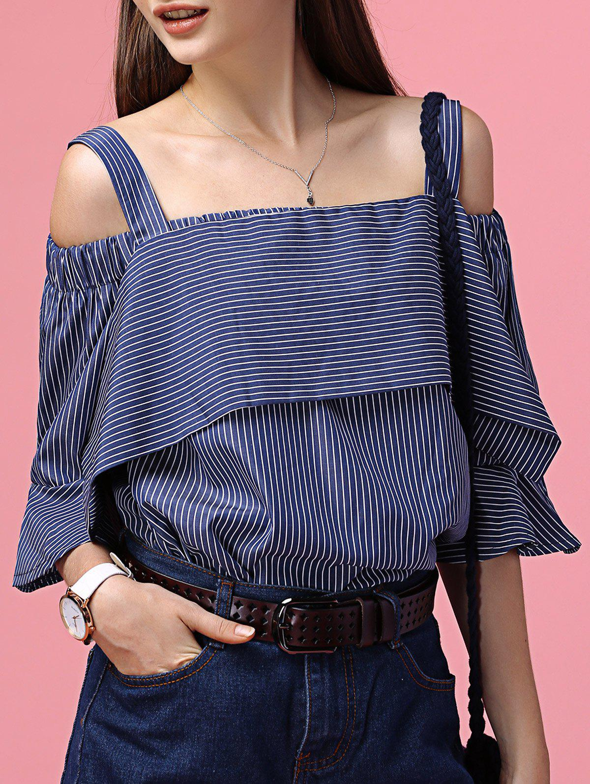 Chic Striped Off The Shoulder Tee + Little Crop Top Twinset For Women - DEEP BLUE ONE SIZE(FIT SIZE XS TO M)