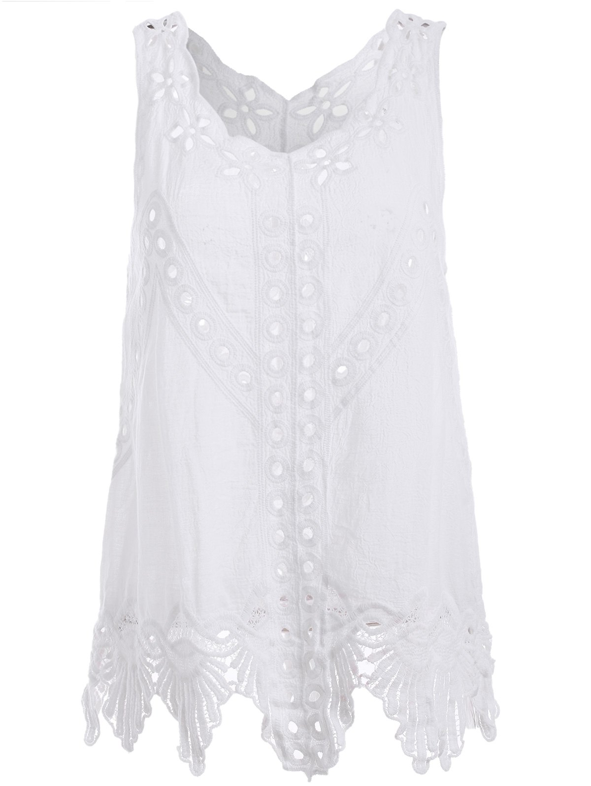 Sleeveless Floral Cut Out Crochet Hem Brief Women's Blouse - WHITE ONE SIZE(FIT SIZE XS TO M)