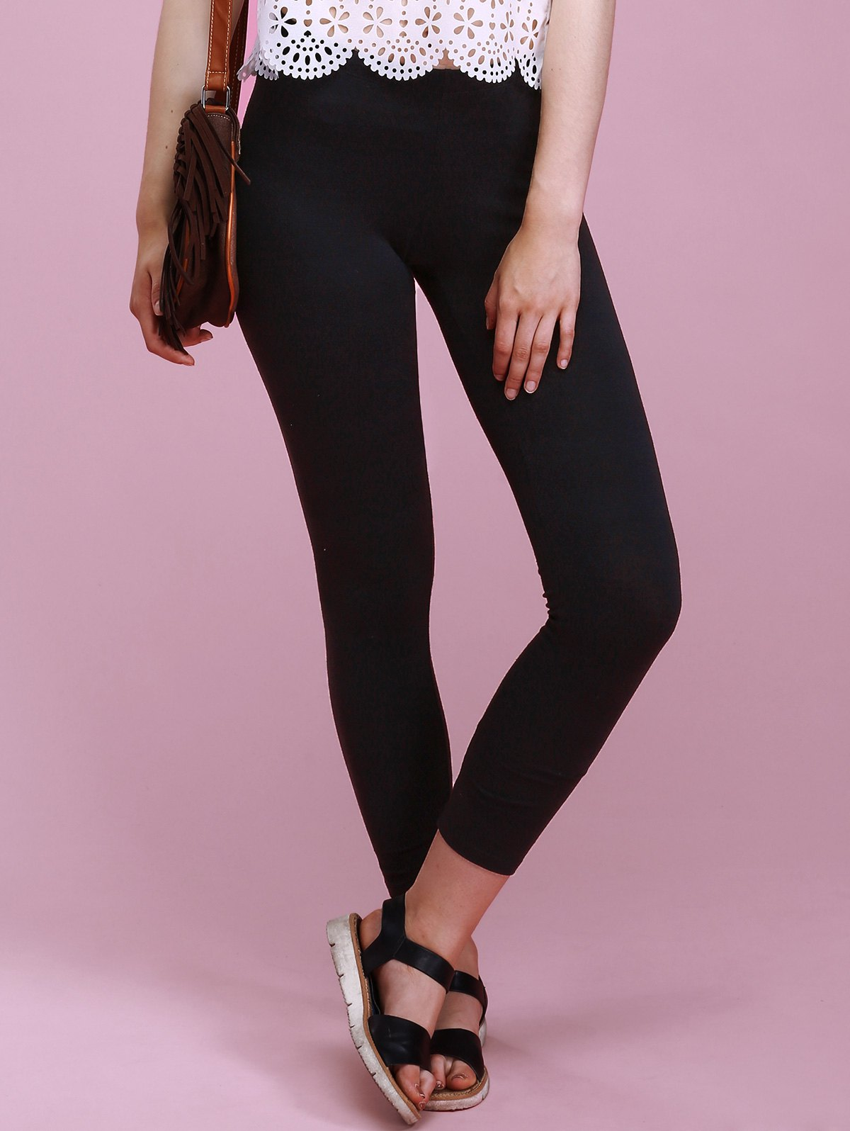 Chic Pure Color Skinny Slimming High Stretchy Women's Pants - BLACK M
