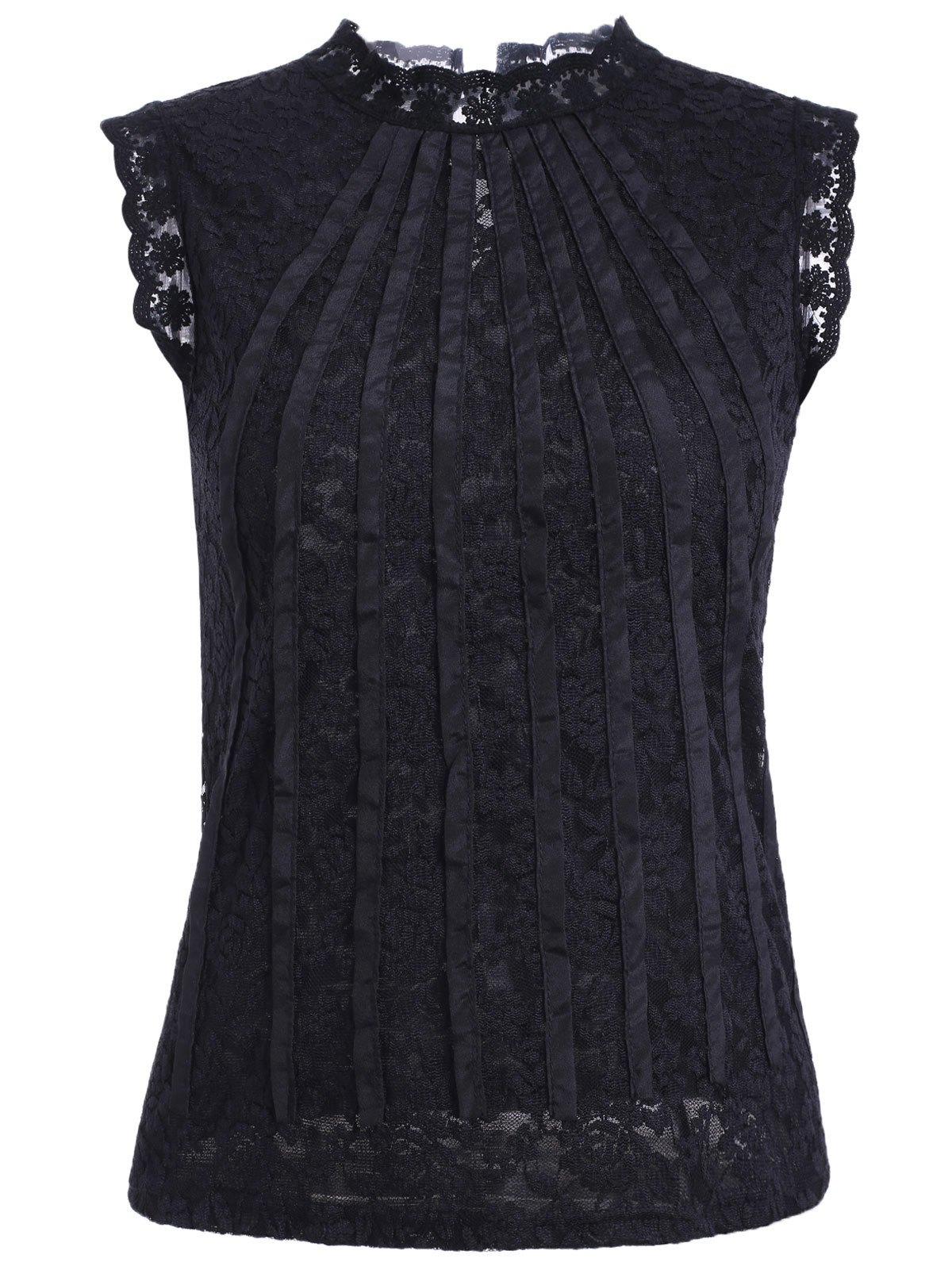 Stand Collar Sleeveless Guipure Laciness Top - BLACK ONE SIZE(FIT SIZE XS TO M)