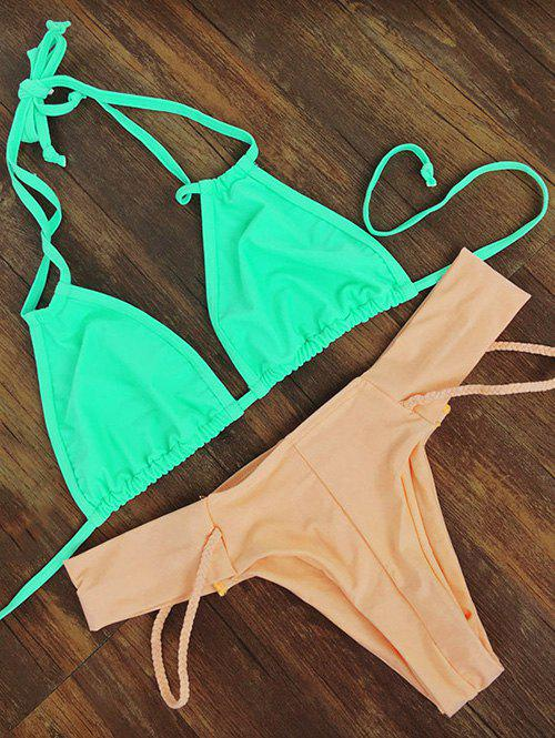 Sweet Women's Sennit Embellished Halter Neck Bikini Set - LIGHT GREEN M
