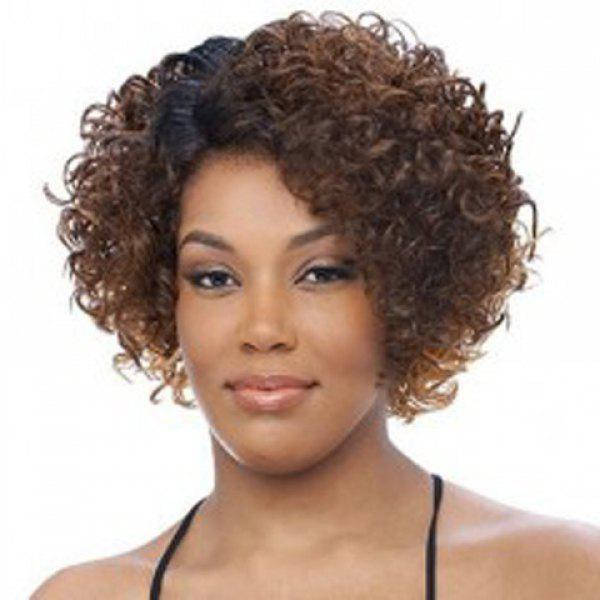Fluffy Short Curly Capless Fashion Black Mixed Brown Synthetic Wig For Women