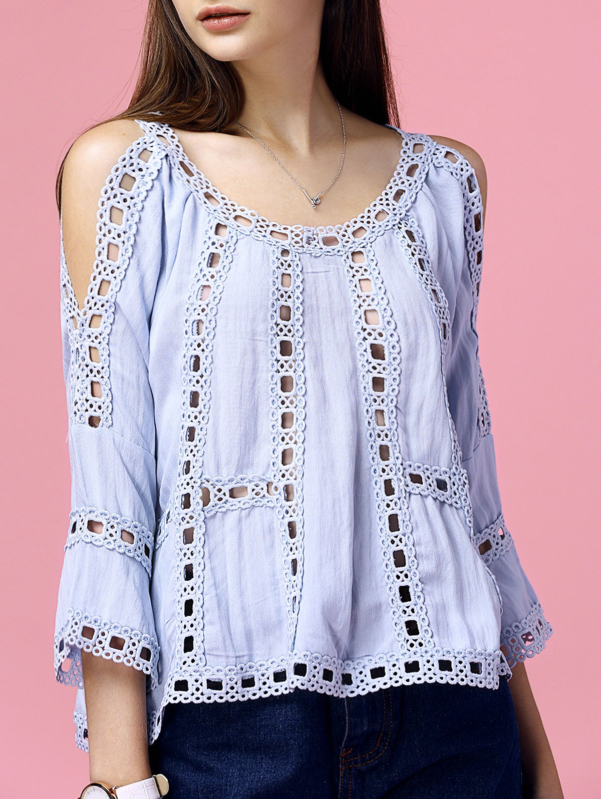 Elegant Women's Blue Cold Shoulder Hollow Out Crochet Blouse - LIGHT BLUE S