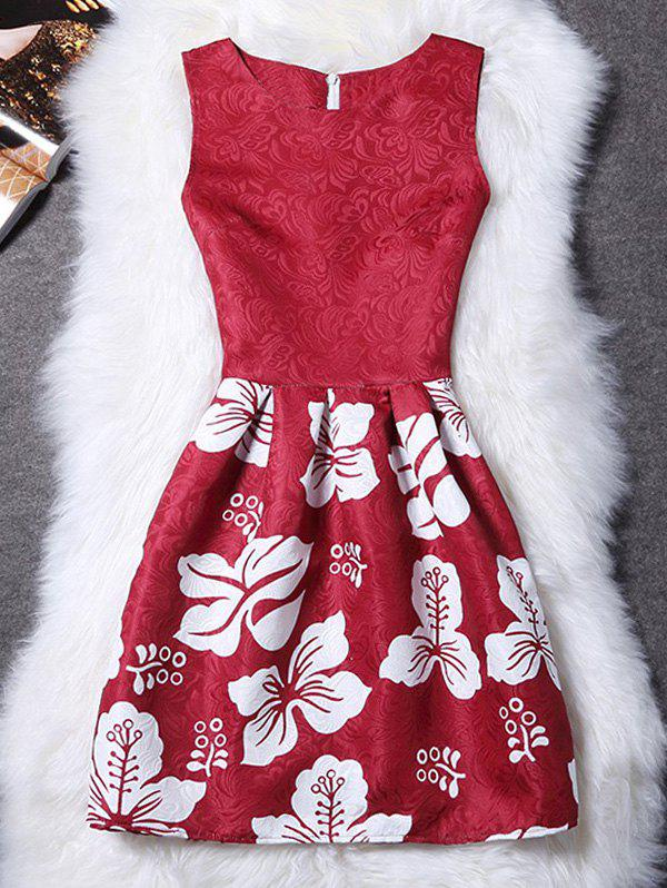 Stylish Round Neck Sleeveless Floral Womens DressWomen<br><br><br>Size: M<br>Color: RED