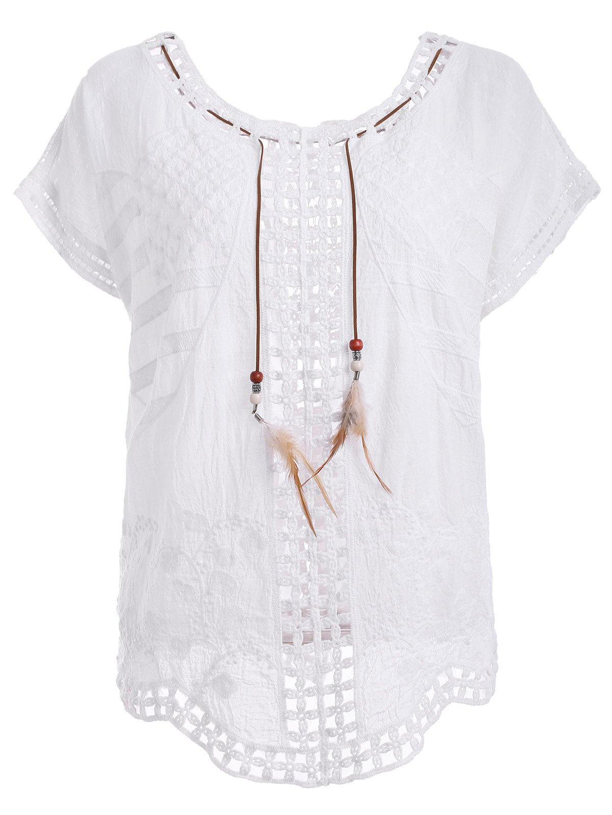 Trendy High Low Hollow Out White Blouse