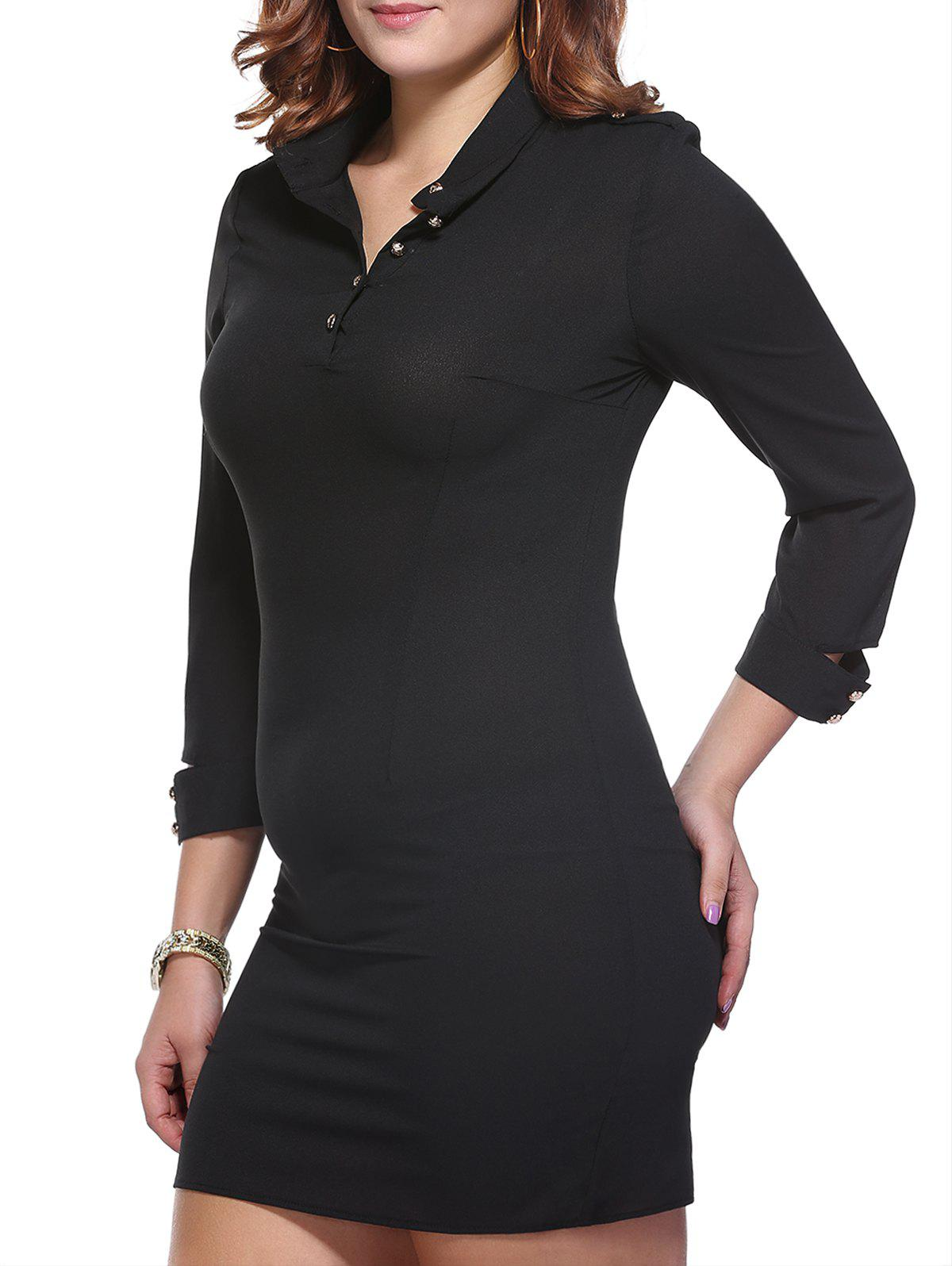 Chic Plus Size Zipper Decorated Buttoned Women's Sheath Dress - BLACK 6XL