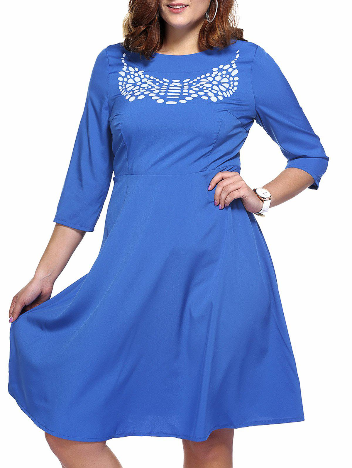 Brief Plus Size Printed 3/4 Sleeve Women's Flare Dress - BLUE 5XL