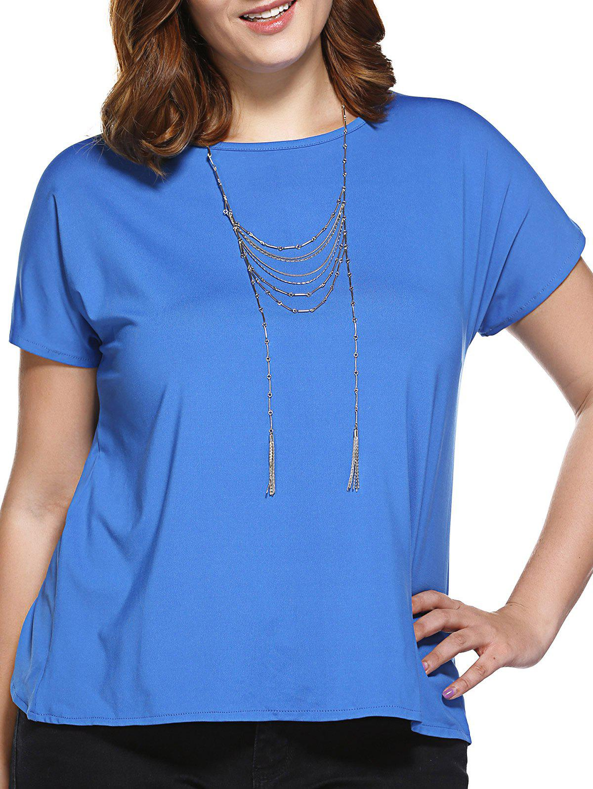 Stylish Women's Slimming Round Neck Tulip Plus Size Top - SAPPHIRE BLUE 4XL