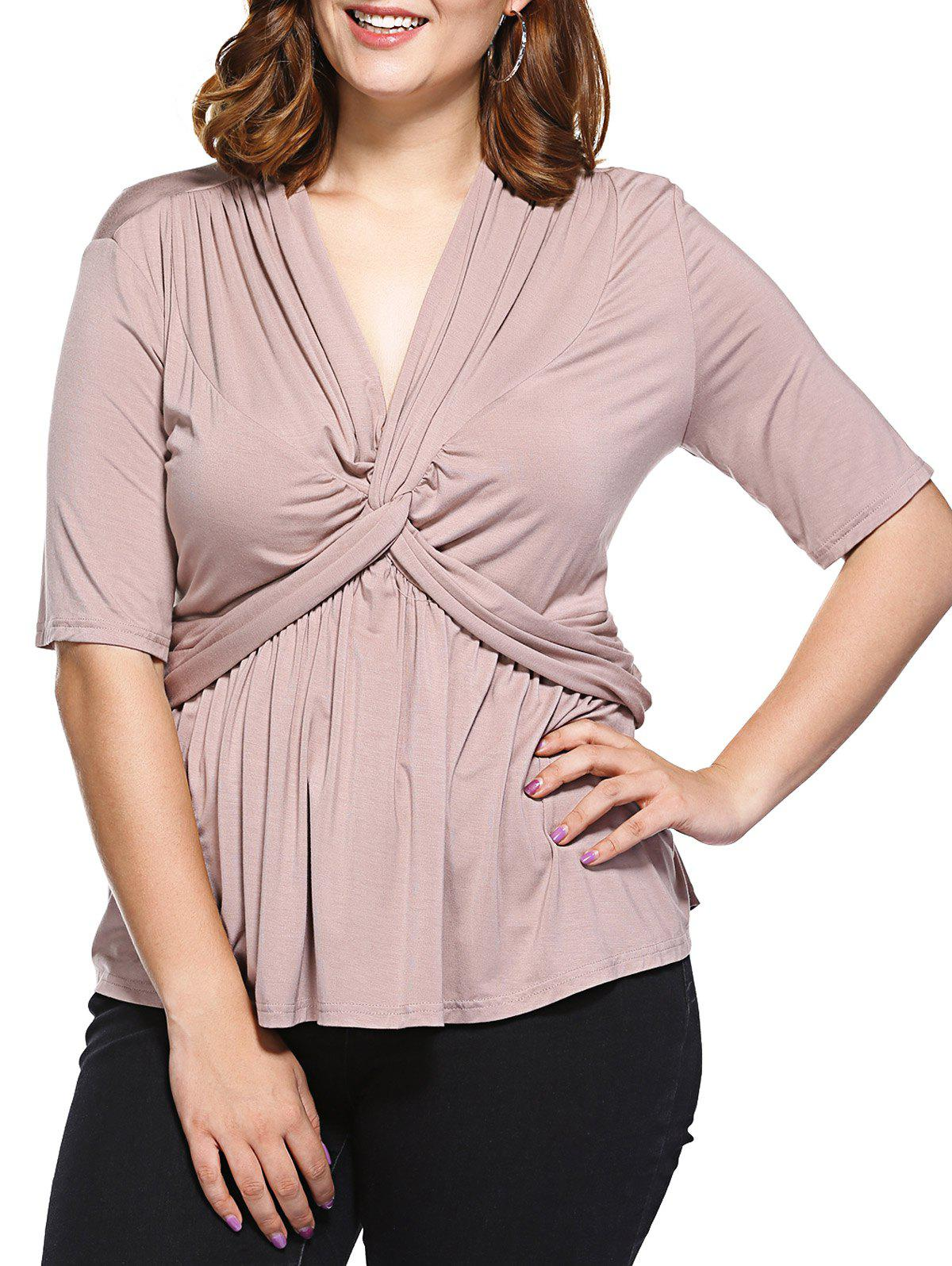 Fashionable V-Neck Fitted Tangle Up Top For Women - APRICOT 3XL