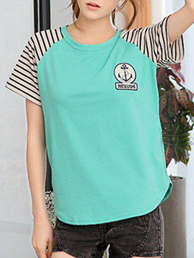 Casual Short Sleeve Round Neck Striped T-Shirt - 2XL GREEN