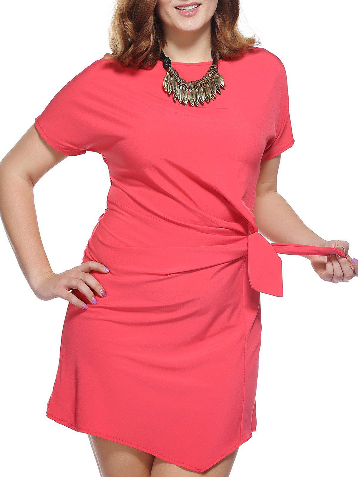 Chic Plus Size Bowknot Embellished Solid Color Women's Dress - RED 5XL