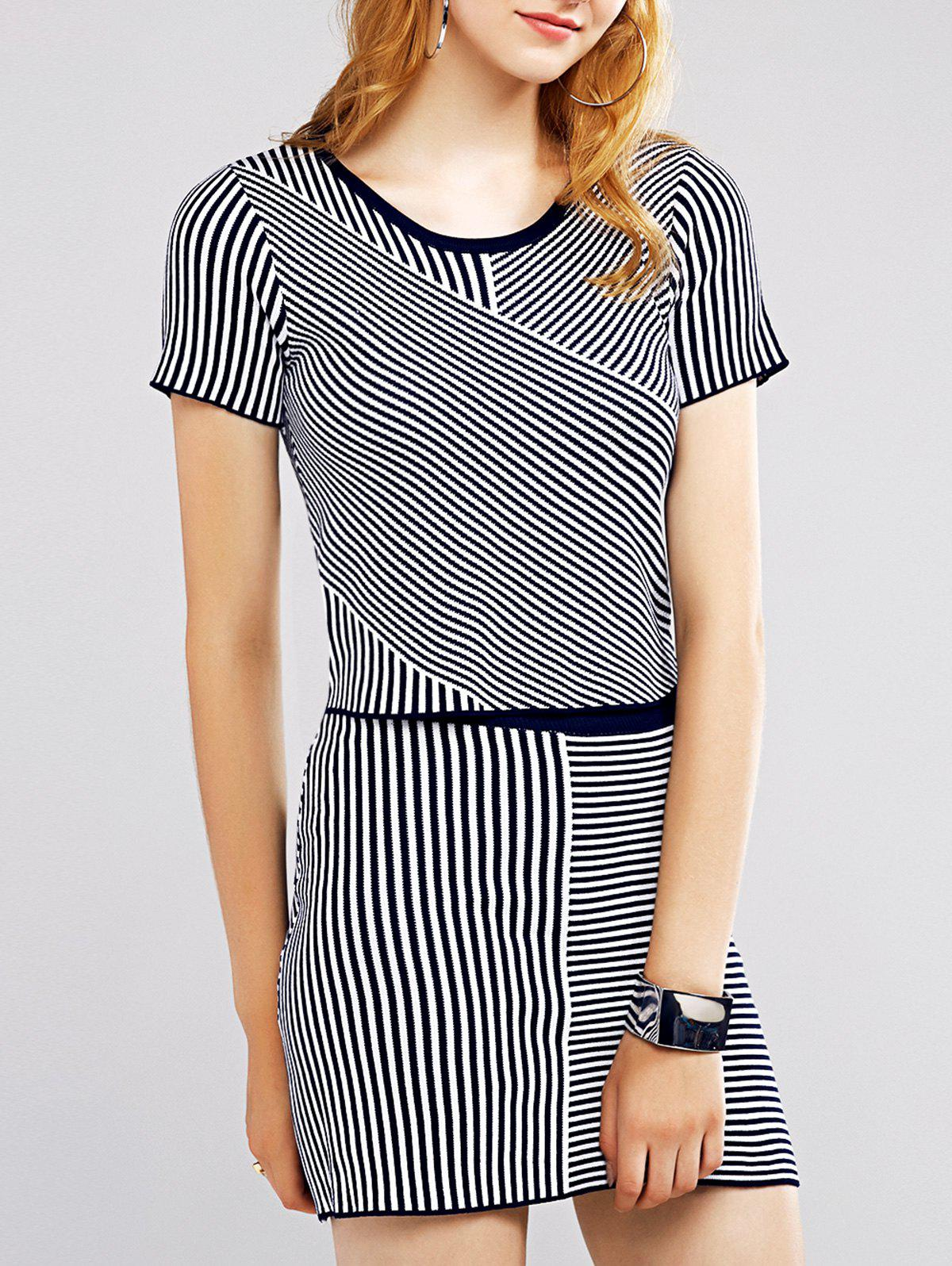 Refreshing Women's Pinstriped Tee and Skirt - STRIPE ONE SIZE(FIT SIZE XS TO M)