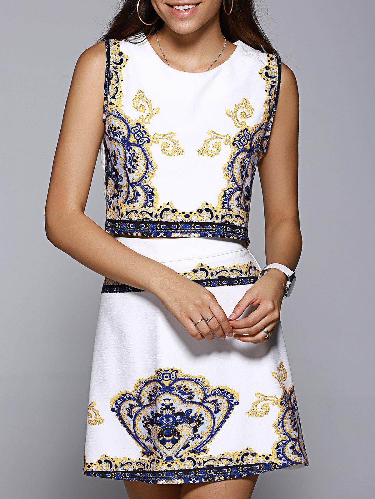 Stylish Printed Round Collar Tank Top + Slimming High-Waisted Skirt Women's Twinset