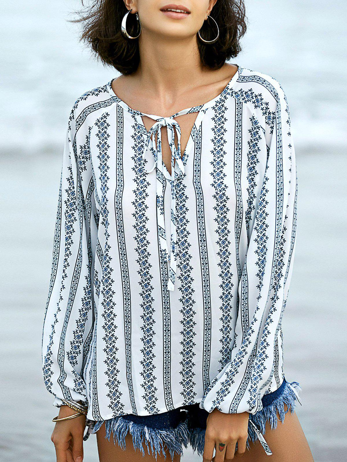 Casual V-Neck Long Sleeve Printed Women's Peasant Top - WHITE 2XL