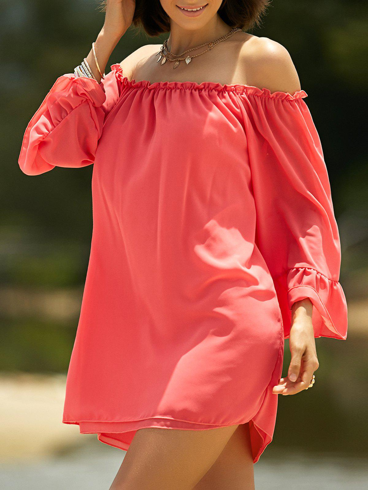 Sweet Cold Shoulder Ruffle Sleeve Dress For Women - RED XL