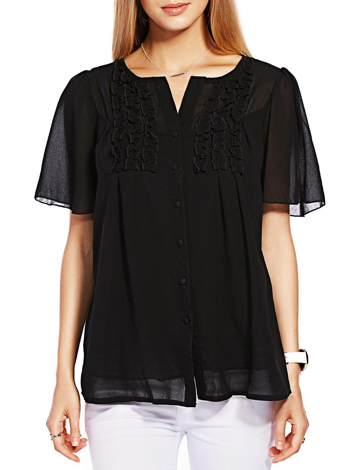 Button Ruffle Chiffon Top - BLACK 4XL